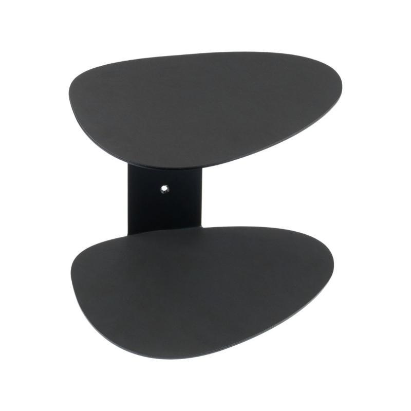 Curve Shelf, Nupo Leather, Black / Black Steel