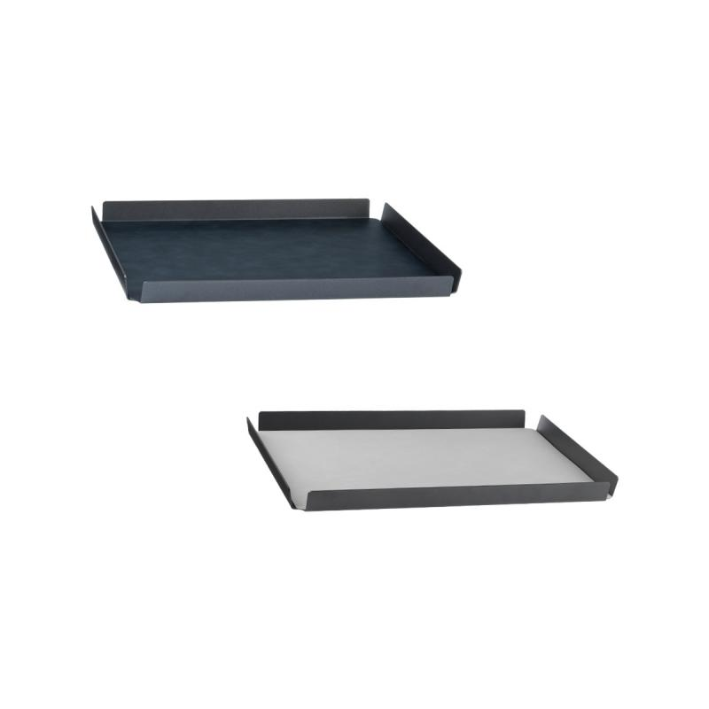 Square Tray, L, Cloud Leather / Nupo Leather, Black / Metallic