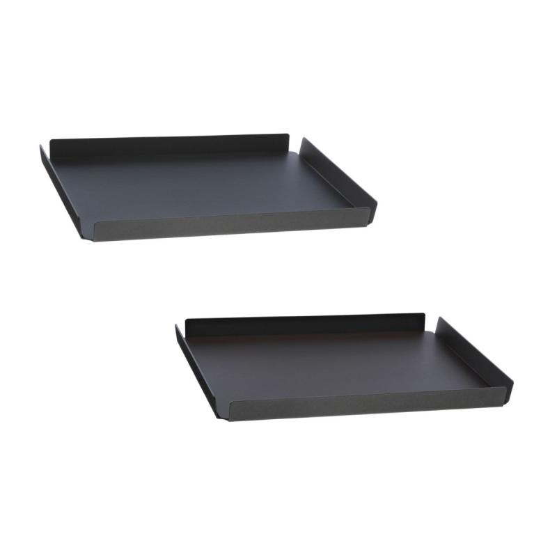 Square Tray, L, Bull Leather, Black / Brown