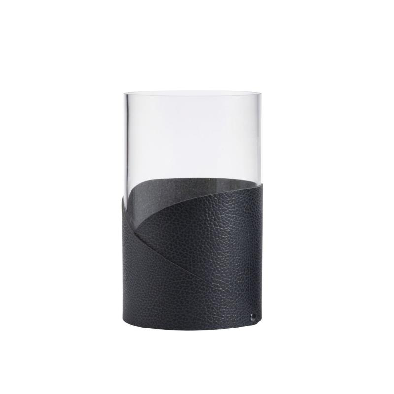 Fold Vase, M, Hippo Leather, Anthracite / Glass