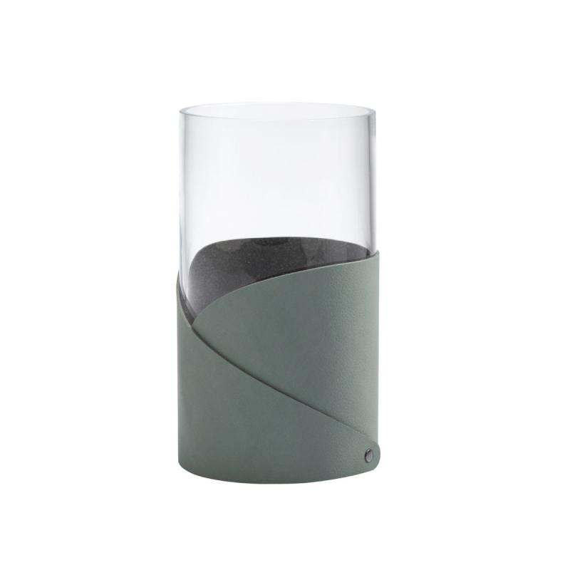 Fold Vase M, Nupo Leather Pastel Green / Glass