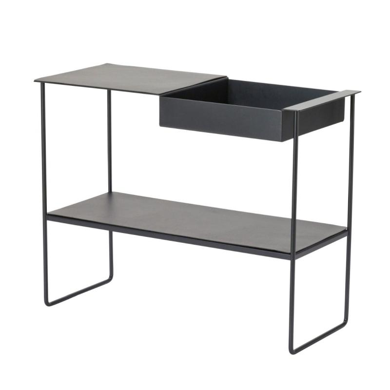 Console Table Storage, Bull Leather, Black