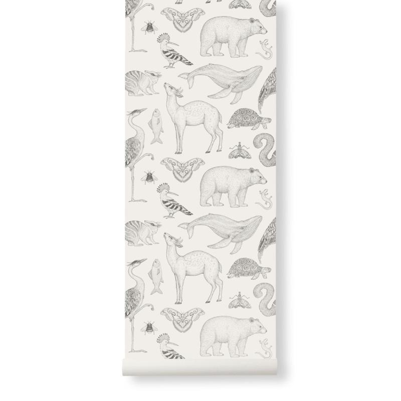 Katie Scott Wallpaper, Animals, Off-White