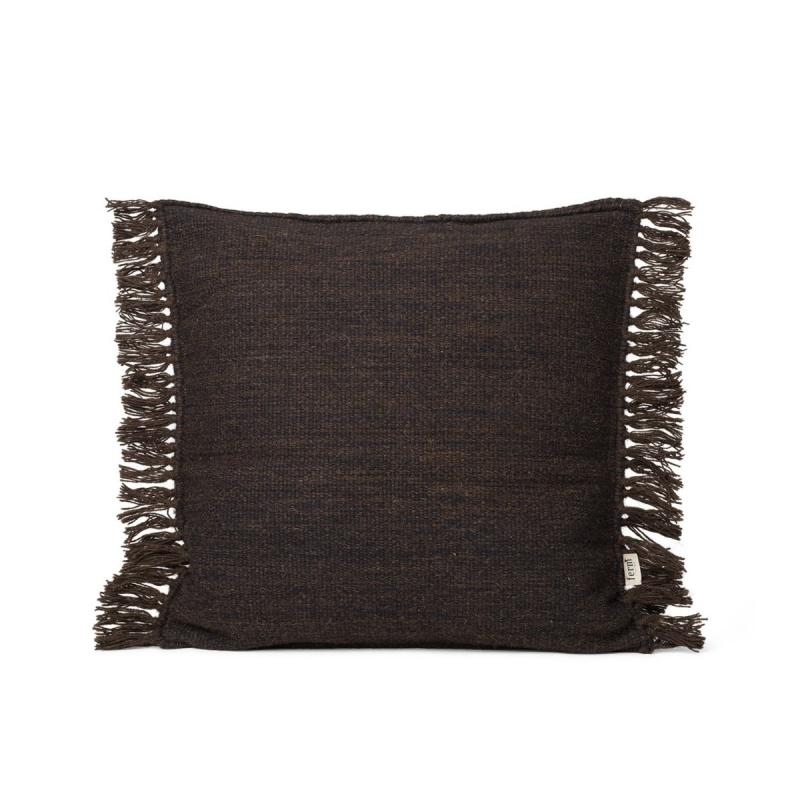 Kelim Fringe Cushion, Dark Melange, S
