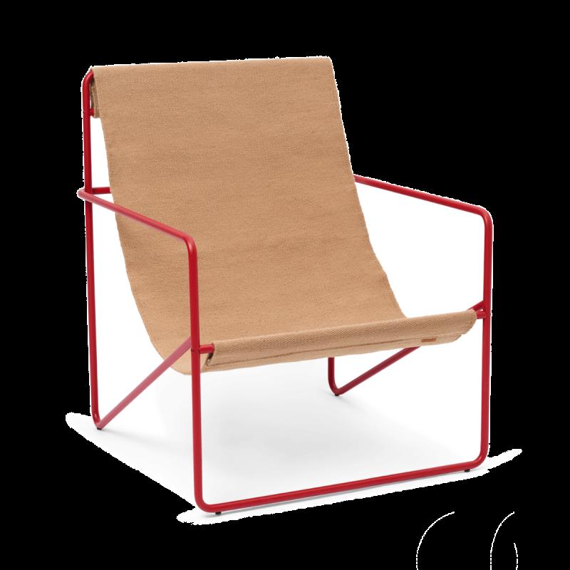 Desert Lounge Chair, Poppy Red Frame, Sand