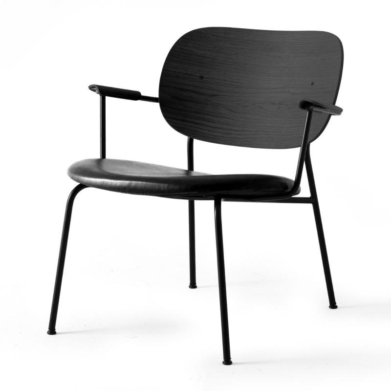 Co Lounge Chair, Black Leather Seat / Black Frame