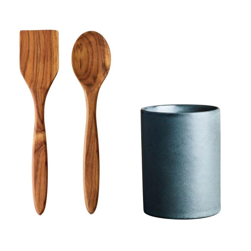 Raw Storage Canister With Spatula & Spoon, Northern Green