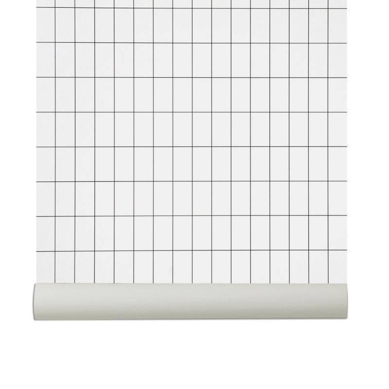 Grid Wallpaper, Black/Off-White