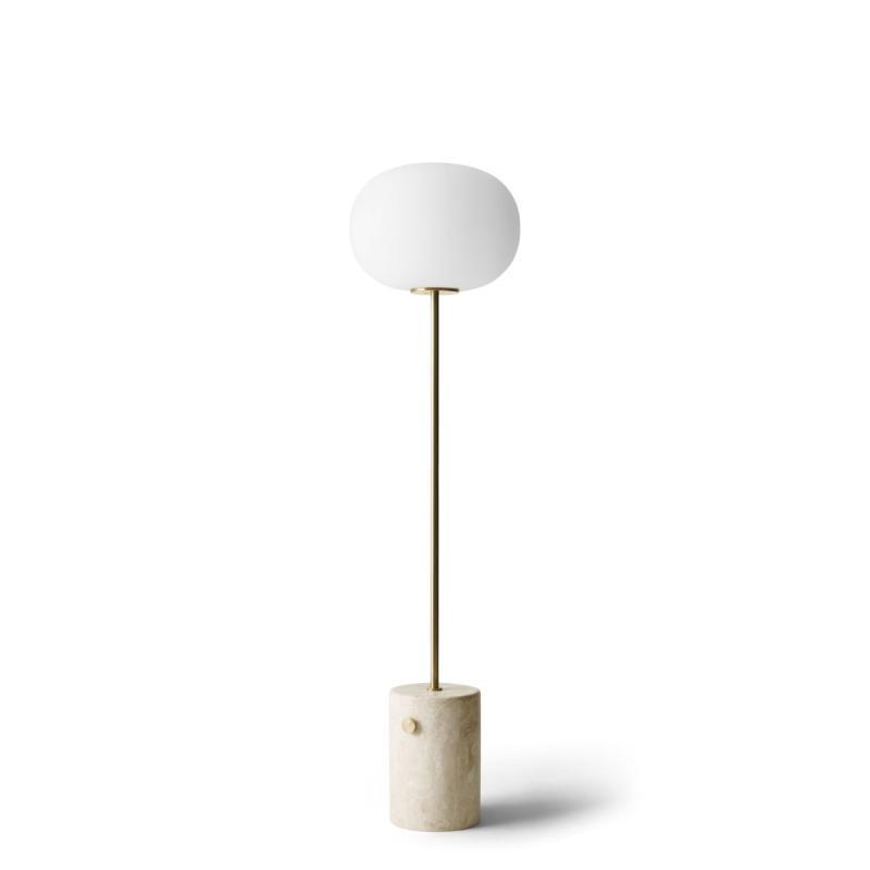 JWDA Floor Lamp, Travertine, Brushed Brass