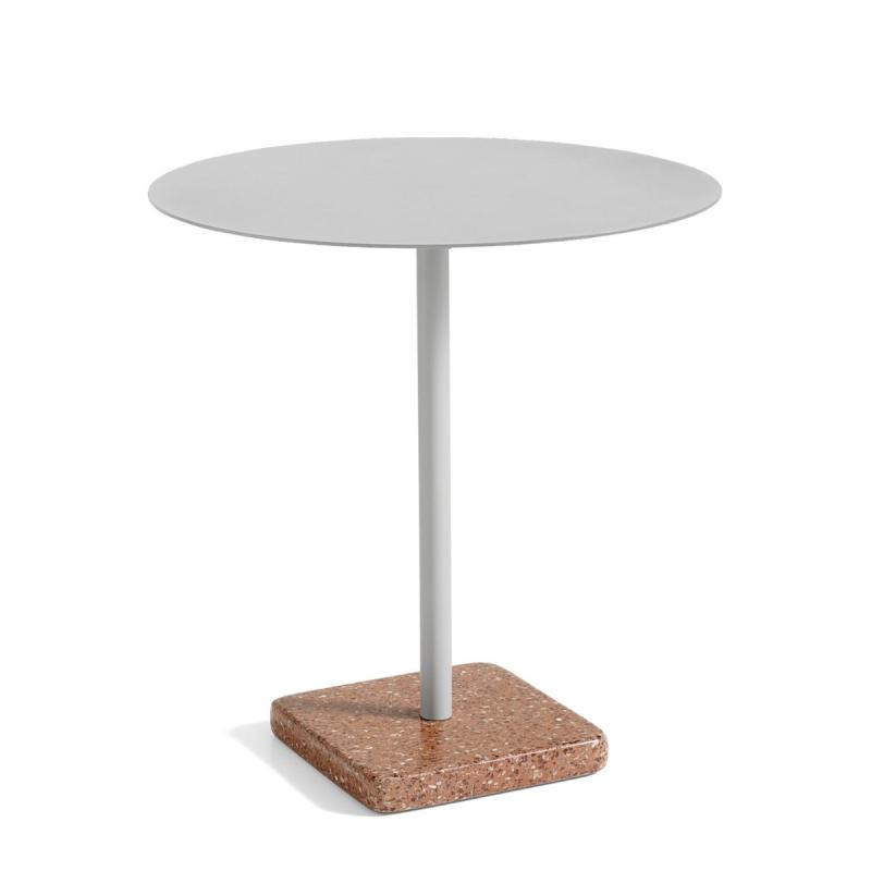 Terazzo Round Table, Ø70cm, Sky Grey Top / Red Base