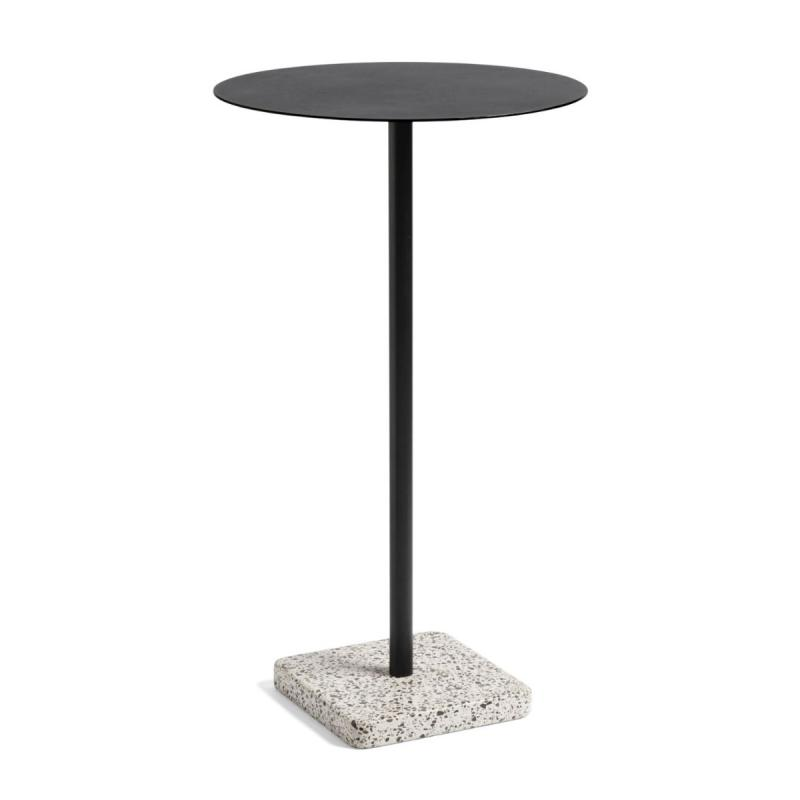 Terrazzo High Round Table, Ø60cm, Anthracite Top / Grey Base
