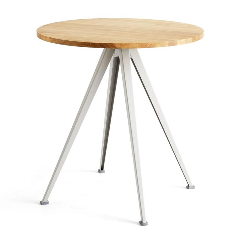 Pyramid Cafe Table 21, Ø70cm, Oak Top / Beige Frame
