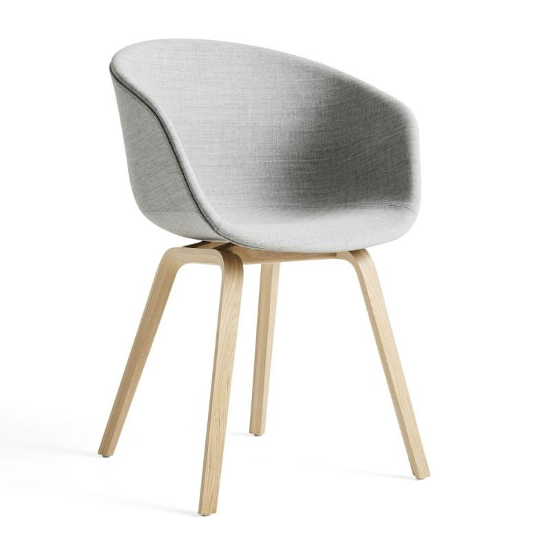 AAC 23 Chair, Grey Upholstery / Oak Base