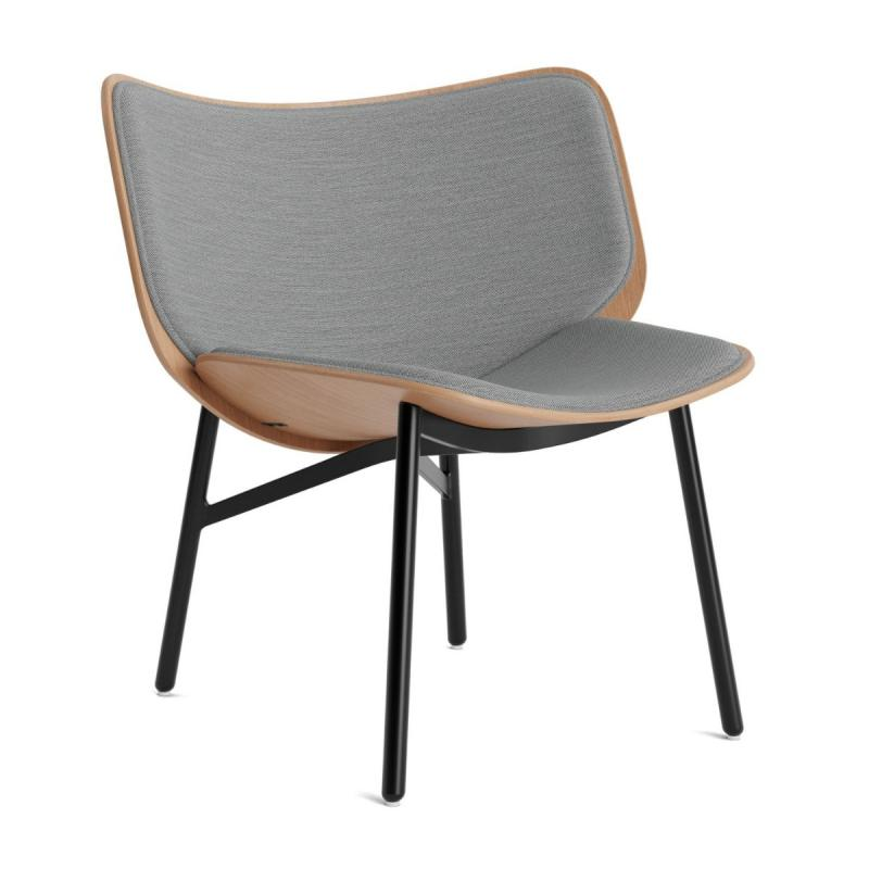 Dapper Lounge Chair, Grey Upholstery / Oak Shell / Black Steel Base