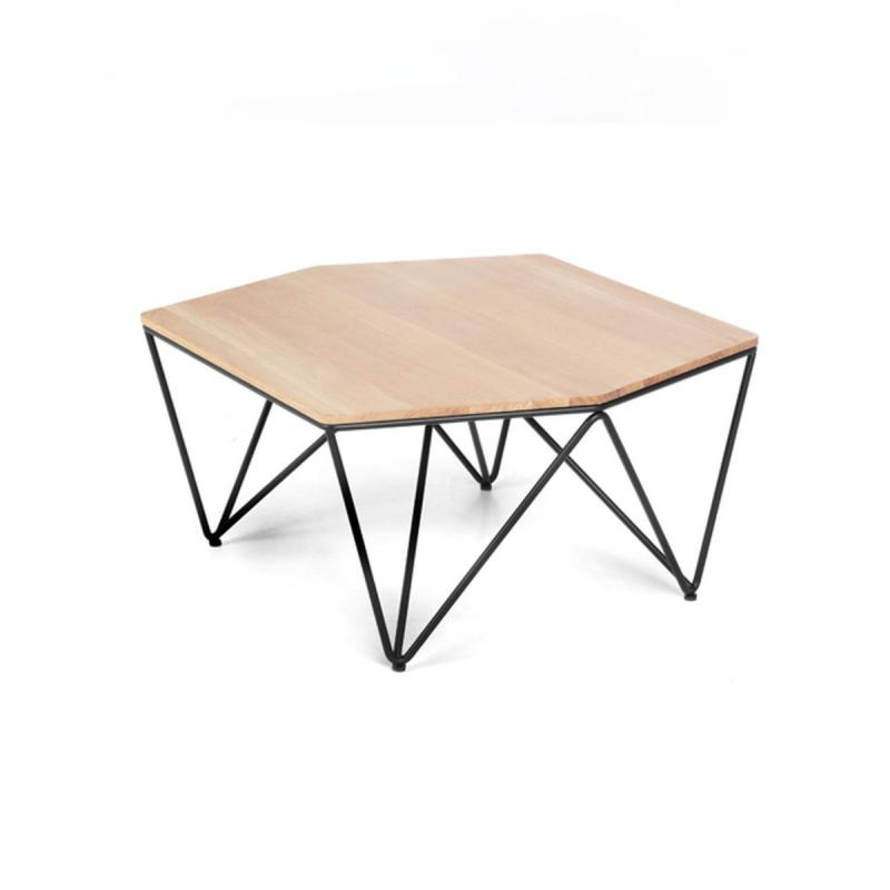 3angle Low Table, Oak Top / Black Metal Frame