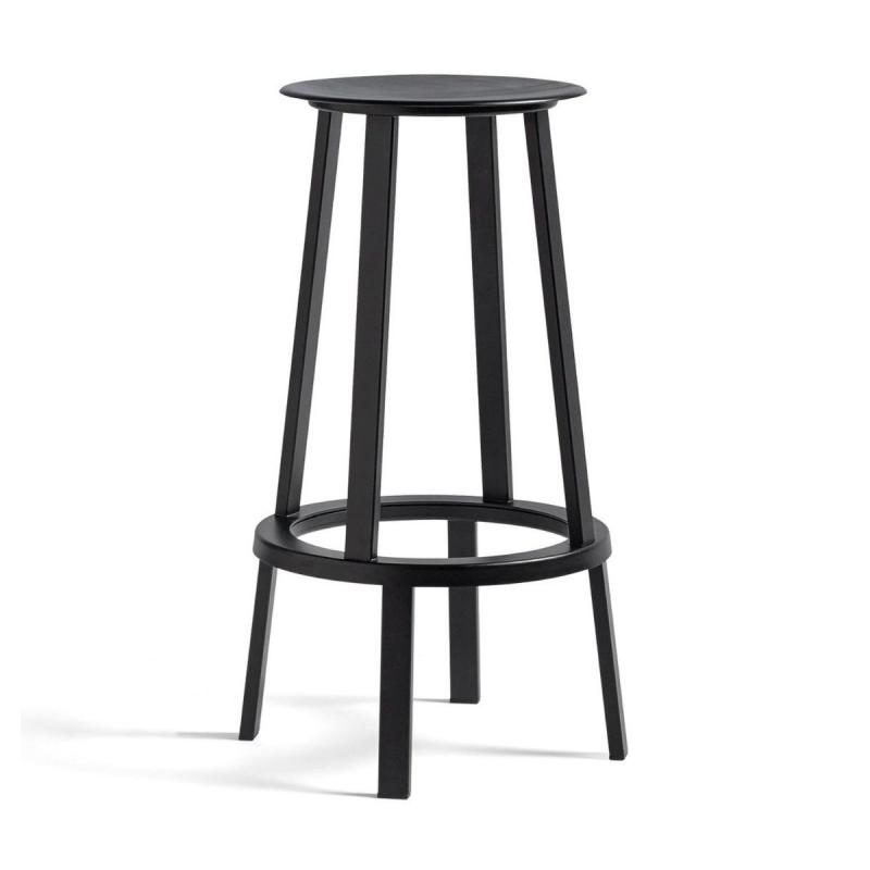 Revolver Bar Stool, High, Black