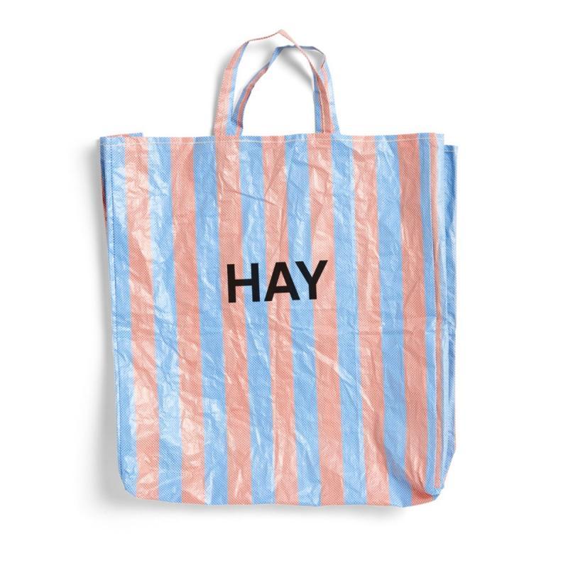 Candy Stripe Shopper Bag, M, Blue And Orange