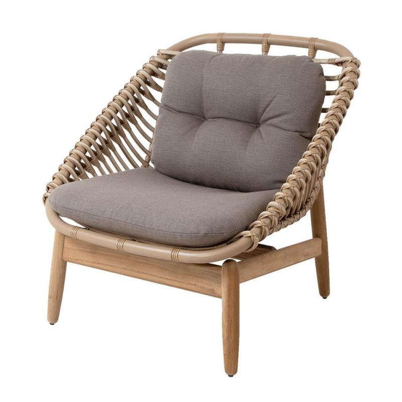 String Lounge Chair, Teak Frame With Taupe Cushion Set