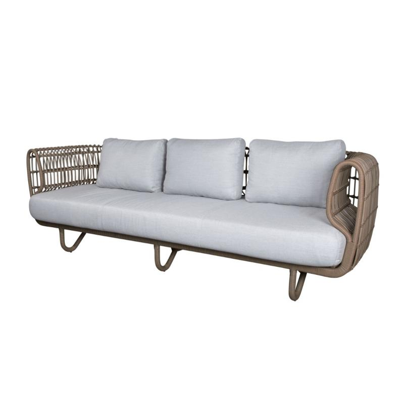 Nest 3-Seater Sofa With Light Grey Cushions, Natural