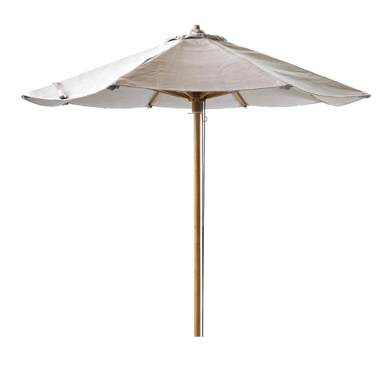 Classic Parasol With Pulley System, Ø240cm, Mud / Teak Frame