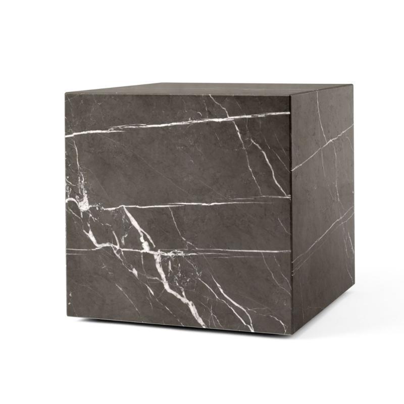 Plinth Marble Table, Cubic, Grey