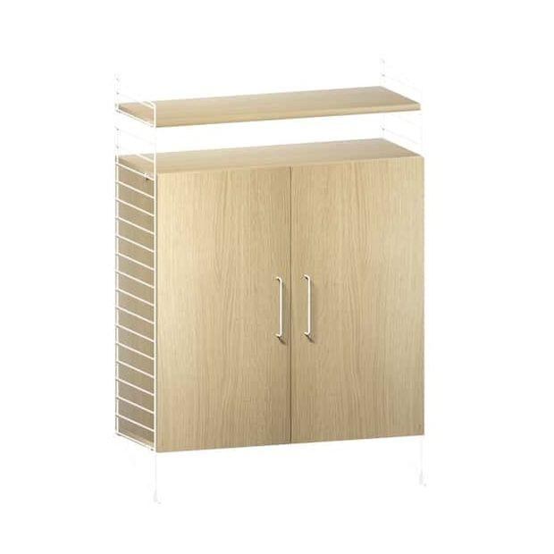 String Works Free-Standing Shelf, Double-Sided, With Filing Cabinets, Oak and White