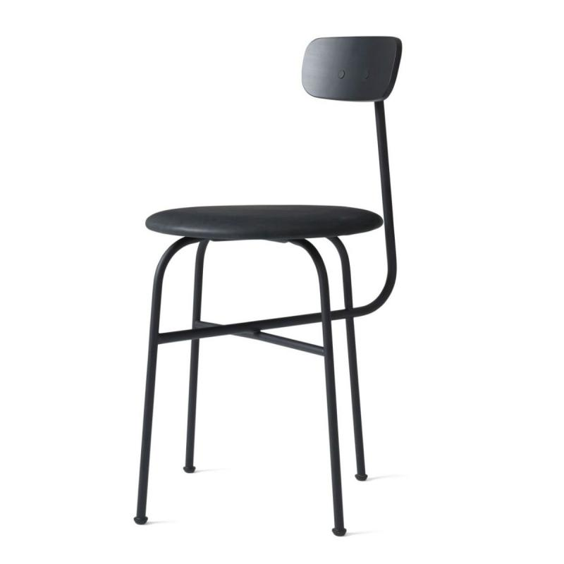 Afteroom Dining Chair 4, Black  Leather  Seat/Black Frame