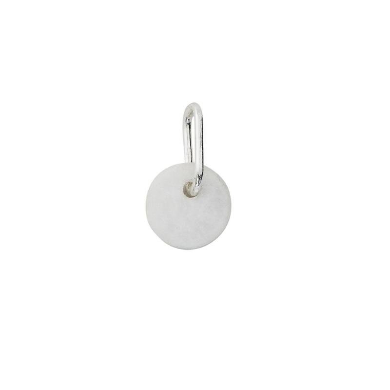 Stone Charm With Silver Bail, White