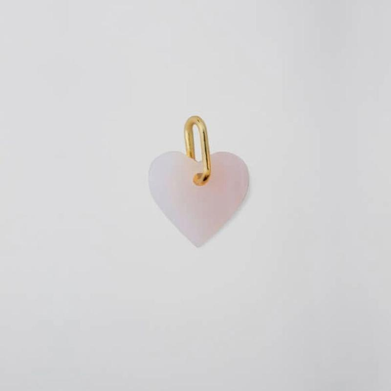 Heart Stone Charm With Gold Bail