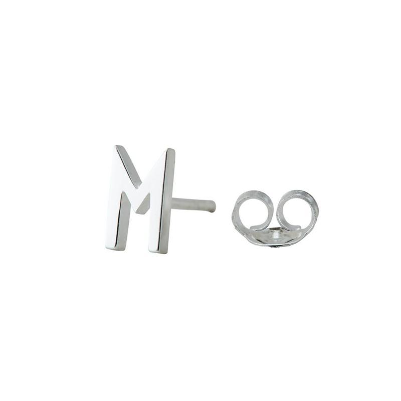 Earring Stud, Archetypes Letter, Silver