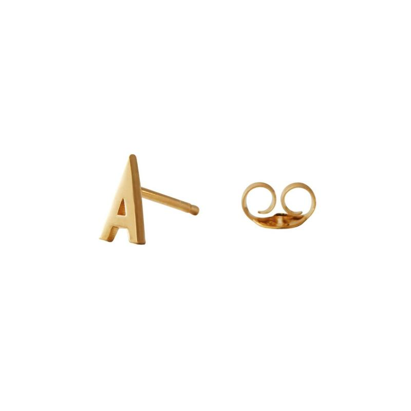 Earring Stud, Archetypes Letter, Gold