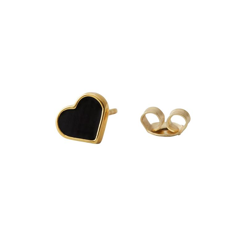 Enamel Heart Earring Stud, Black / Gold