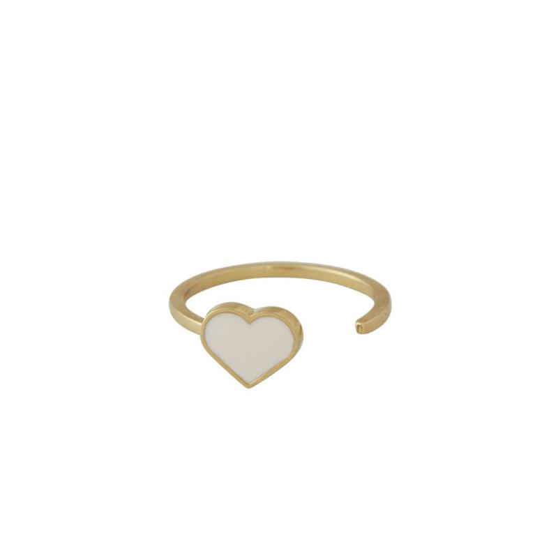 Enamel Heart Ring, Nude / Gold