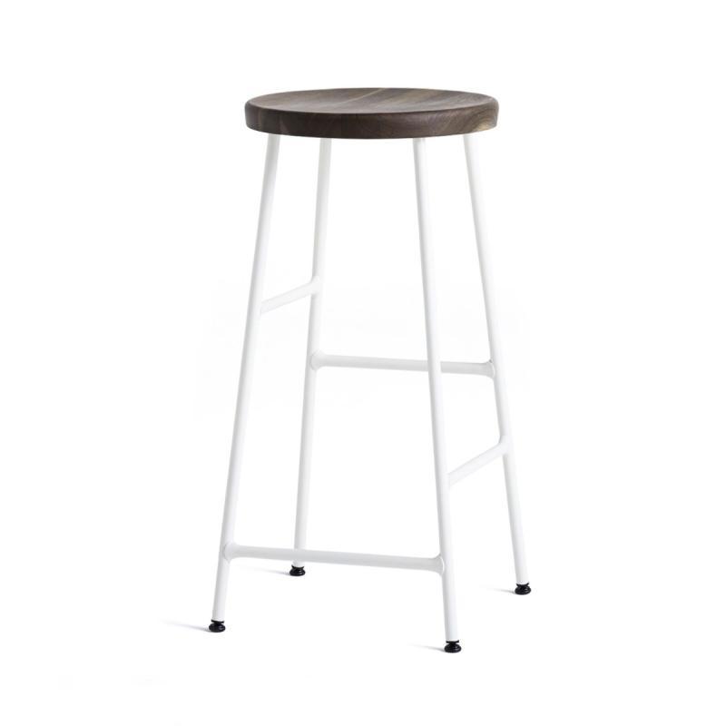 Cornet Bar Stool, Low, Smoked Oiled Oak Seat / Cream White Base