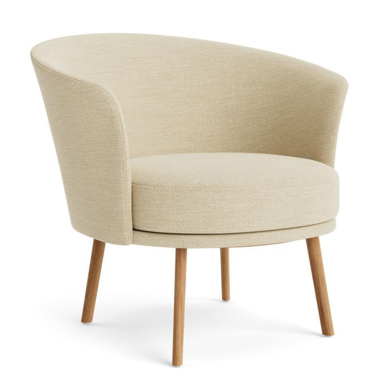 Dorso Lounge Chair, Cream White Upholstery / Black Steel Base