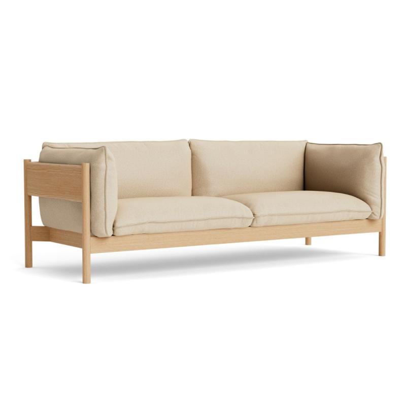 Arbour Sofa, 3-Seater, Beige Upholstery / Oak Frame