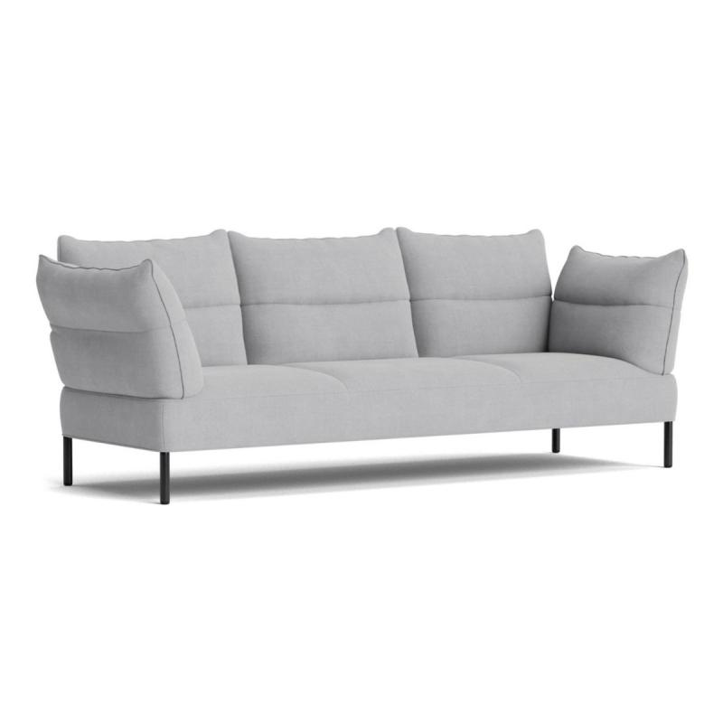 Pandarine Sofa, 2-Seater, With Reclining Armrest, Grey Upholstery / Oak Legs