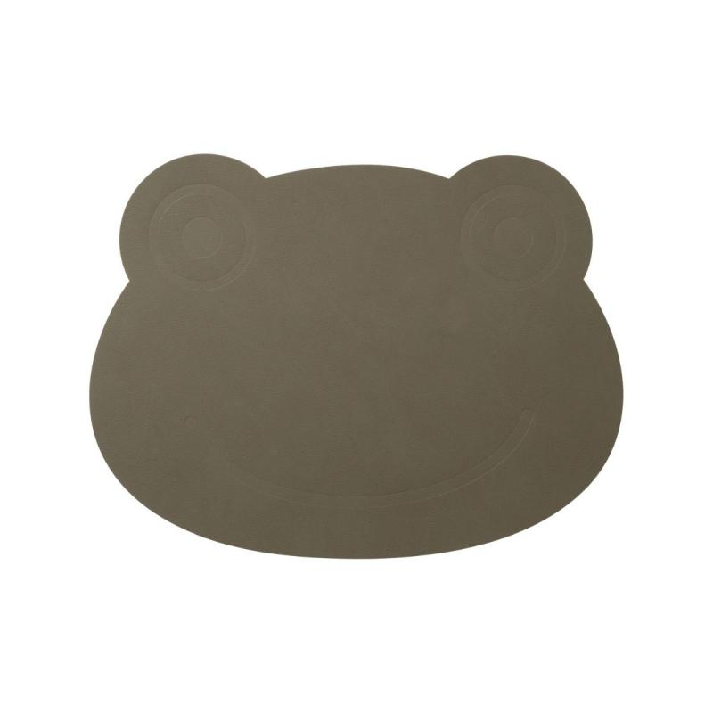 Frog Table Mat, Nupo Leather, Army Green