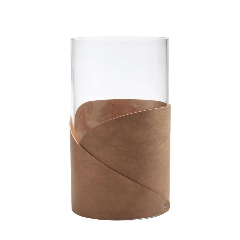 Fold Vase, L, Nupo Leather, Nature / Glass