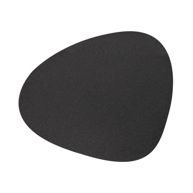 Curve Table Mat, L, Core Leather, Flecked Anthracite