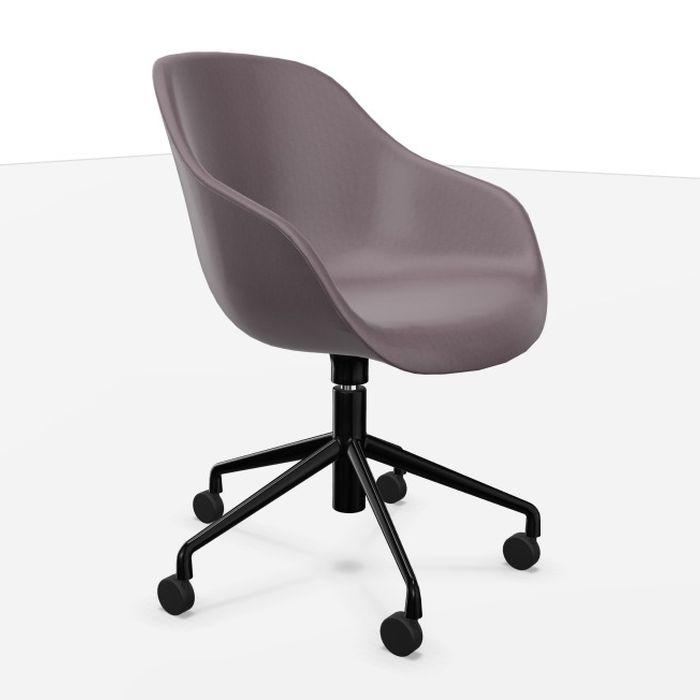 AAC 153 Soft Chair, Cappuccino Brown Leather Upholstery / Black Swivel Base With Castors