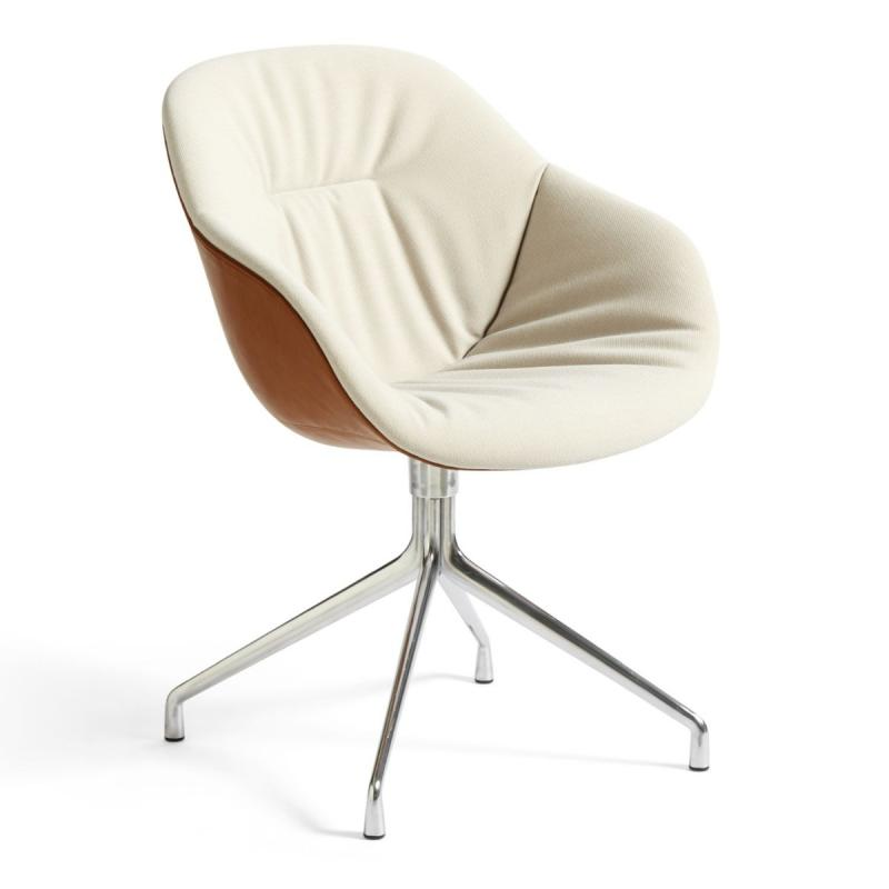 AAC 121 Soft Duo Chair, Beige Upholstery / Brown Leather Shell / Polished Aluminium Base