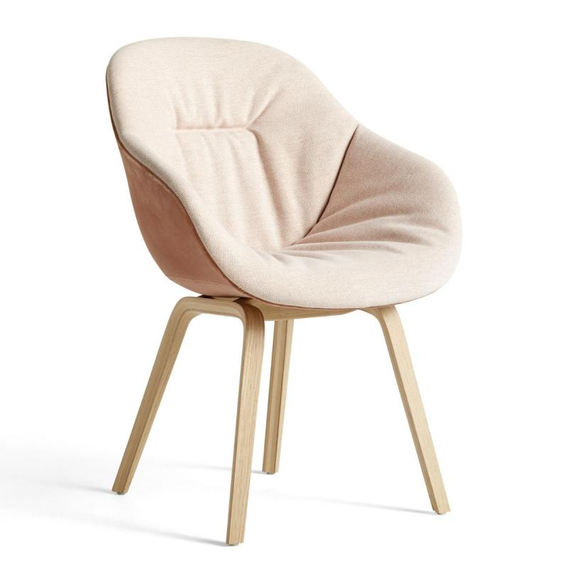 AAC 123 Soft Duo Chair, Off-White Upholstery / Light Purple Shell / Oak Base