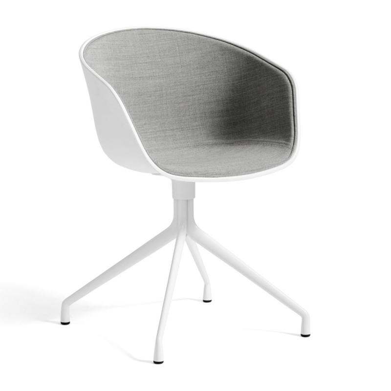 AAC 20 Chair, Front Upholstery, White Shell / Light Grey Upholstery / White Base