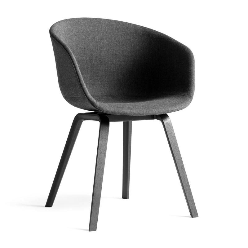 AAC 23 Chair, Dark Grey Upholstery / Black Oak Base