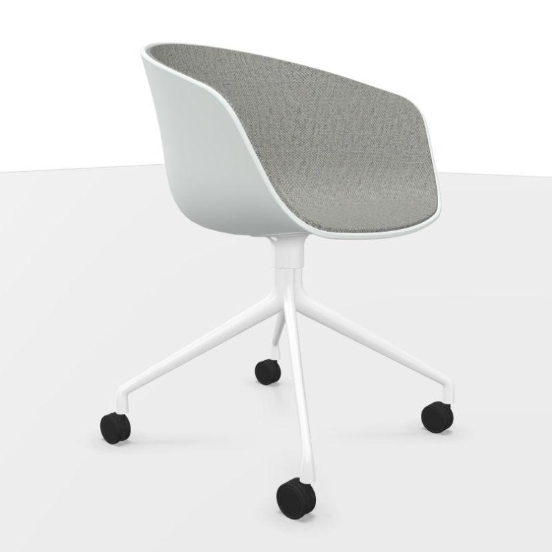 AAC 24 Chair, Front Upholstery, White Shell / Grey Upholstery / White Base With Castors