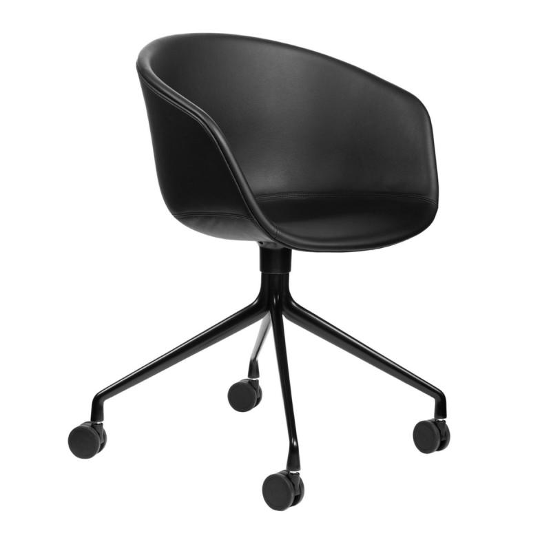 AAC 25 Chair, Black Leather Upholstery / Black Base