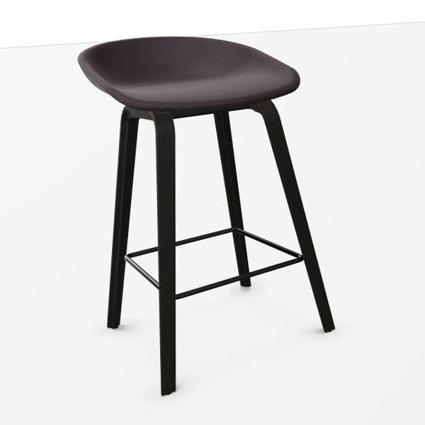 AAS 33 Bar Stool, Low, Dark Purple Upholstery / Black Oak Base