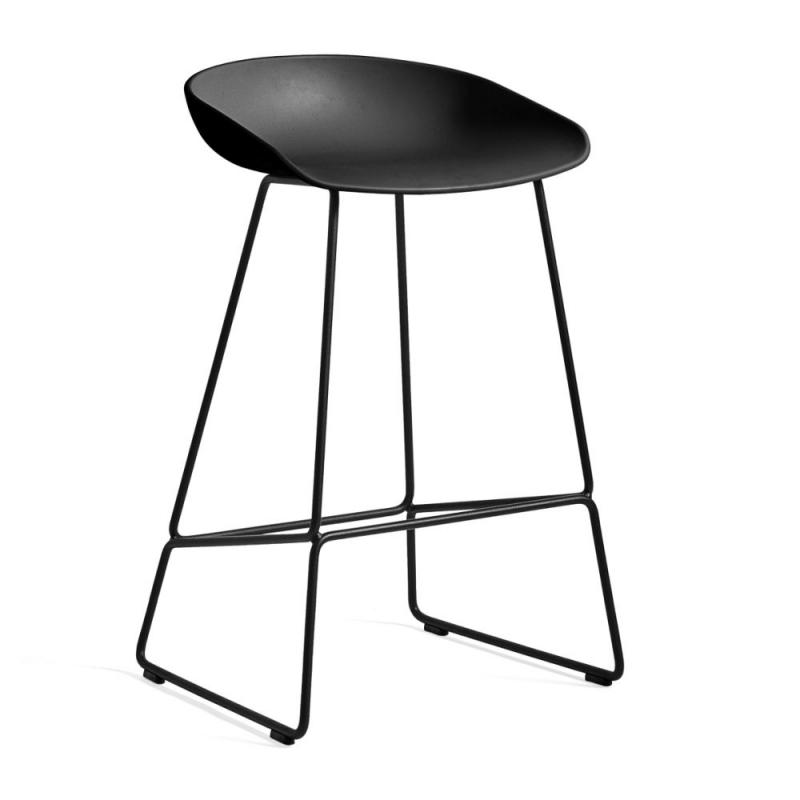 AAS 38 Bar Stool, Low, With Standard Gliders, Black Shell / Black Base