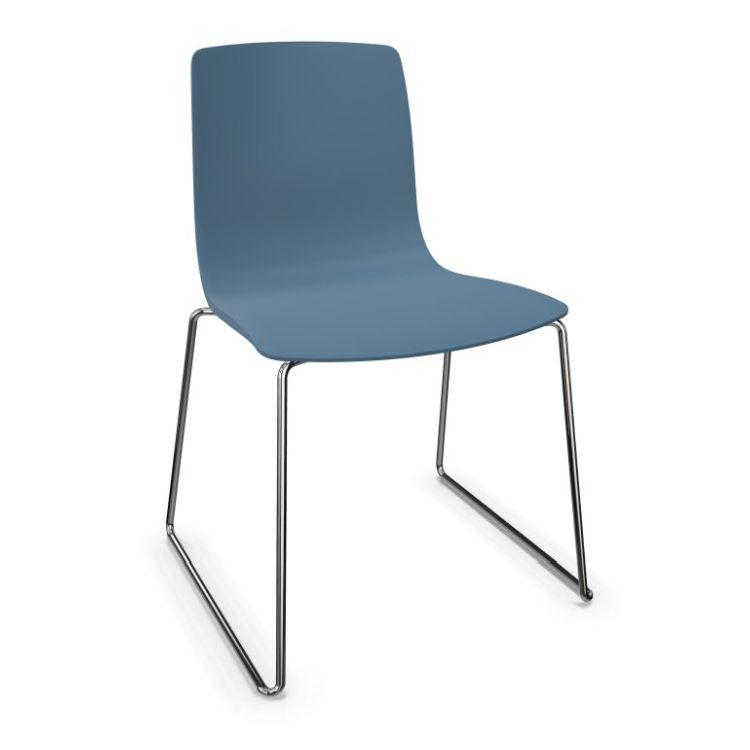 Aava Chair, Blue Shell / Chromed Sled Base